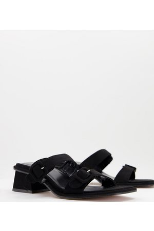 ASOS Wide Fit Willow buckle detail heeled mules in black
