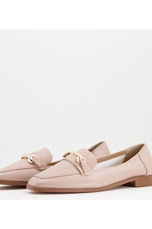 ASOS Dame Loafers - Wide Fit Verity loafer flat shoes with trim in blush-Pink