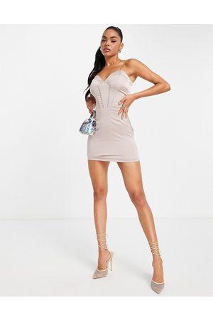NaaNaa Satin corset detail mini dress in mink-Grey