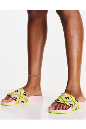 adidas Originals Adilette terry towelling sliders in pink with plaid print