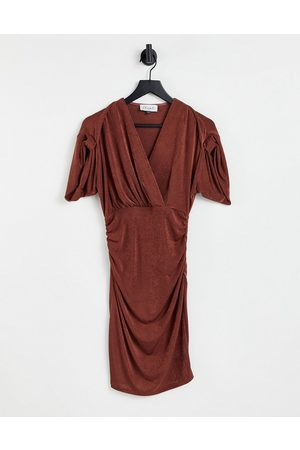 Closet Ruched sleeve wrap midi dress in chocolate brown