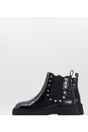 London Rebel Dame Skoletter - Wide fit chunky chelsea boots with studs in black