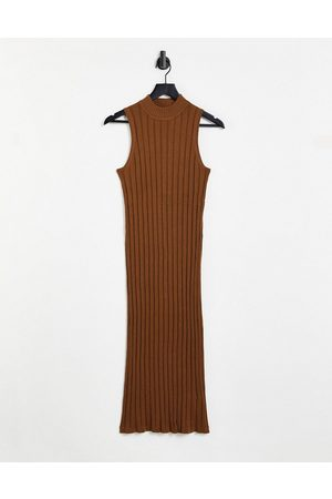 Object Amira sleeveless knitted dress in brown