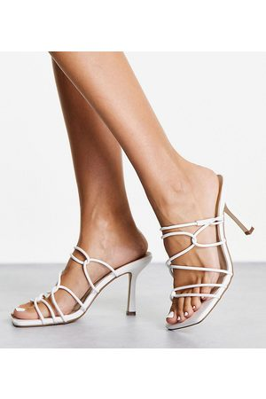 Missguided Strappy square toe heeled sandal in white