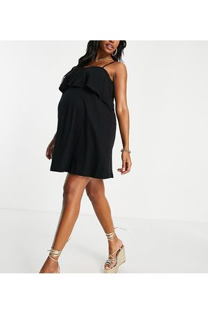 ASOS Maternity square neck sundress with overlayer frill in black