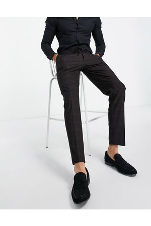 ASOS DESIGN Slim suit trousers in cross hatch check in navy with drawcord waist