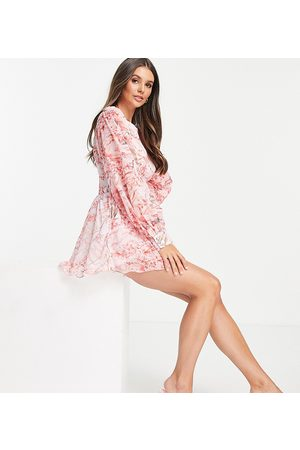 In The Style Tall Dame Playsuits - X Lorna Luxe corset waist playsuit in pink floral print-Multi