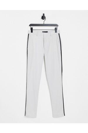 ASOS DESIGN Skinny tuxedo suit trousers in ice grey