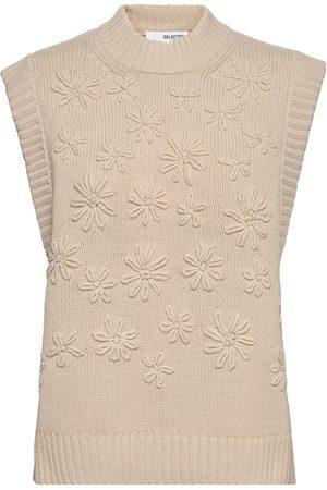 SELECTED Dame Kortermede - Slffia Knit Vest B T-shirts & Tops Knitted T-shirts/tops Beige