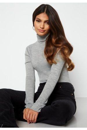 SELECTED Costina LS knit rib rollneck Light Grey Melange XL