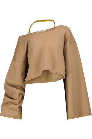 The Attico One-shoulder cotton-blend sweatshirt