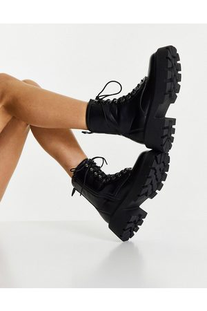 Truffle Collection Square toe chunky lace up boots in black