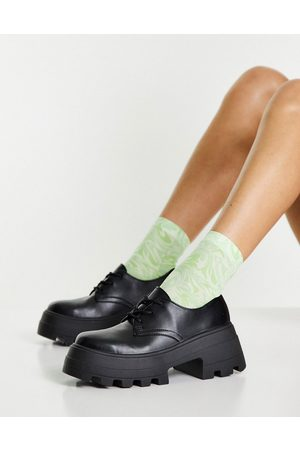 ASOS Dame Loafers - Midnight chunky lace up flat shoes in black