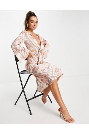 ASOS DESIGN Tie front satin midi dress with flared sleeve and cut out side in blush patchwork floral-Multi