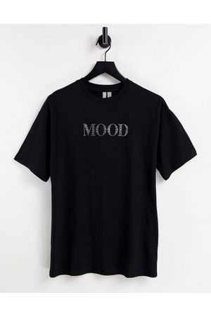 ASOS DESIGN Oversized t-shirt with mood in crystals in black