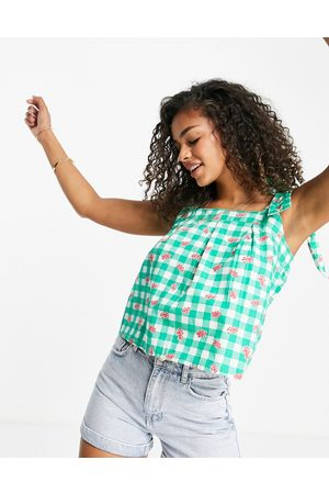Influence Tie strap top in green gingham with floral-Multi