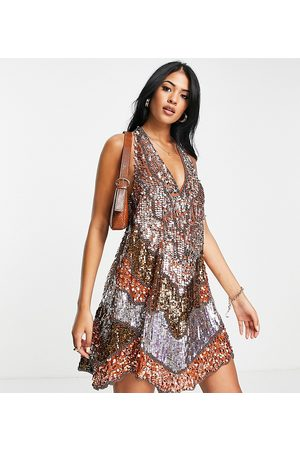 ASOS Tall ASOS DESIGN Tall halter mini with patched embellishment-Multi