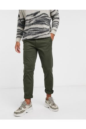 SELECTED Herre Chinos - Straight fit chino with organic cotton in khaki-Green