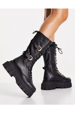 ASOS Cosmic premium leather chunky lace up knee boots in black