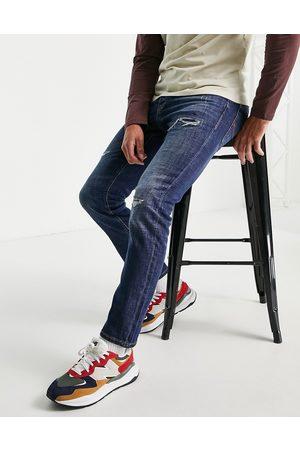 jack & jones Intelligence Tim super stretch straight leg jeans with abrasions-Blue