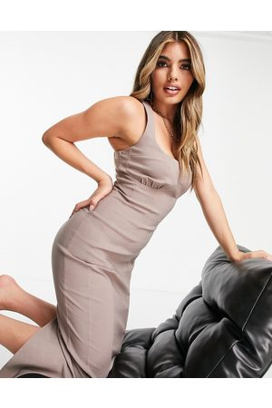 ASOS Dame Midikjoler - Strappy midi dress with cup detail in taupe-Brown