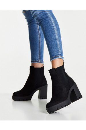 ASOS Dame Skoletter - Eve heeled chunky chelsea boots in black