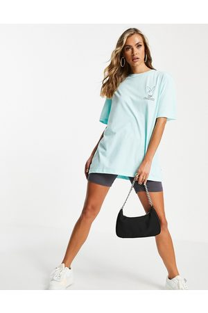 Missguided Dame Sett - Playboy co-ord logo oversized tee in green