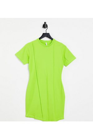 AsYou Dame Bodycon kjoler - Seam detail asymmetric bodycon t-shirt dress in lime green