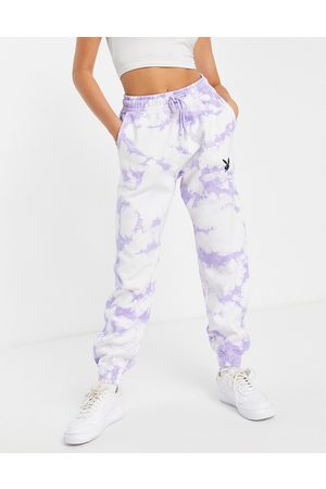 Missguided Playboy co-ord oversized jogger in lilac tie dye-Purple