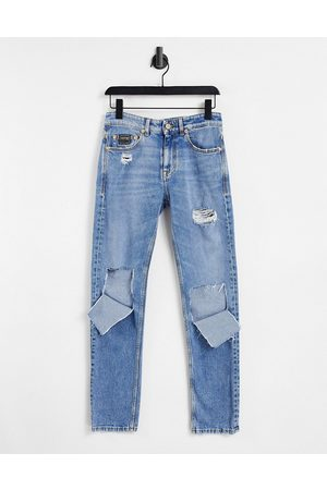 Versace Jeans Couture Slim fit ripped knee jeans in blue wash