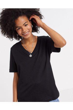 Selected Femme organic cotton short sleeve v neck t-shirt in black