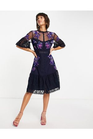 French Connection Bina embroidered midi dress with flutter sleeves in utility blue