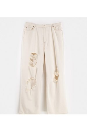 ASOS Tall Dame High waist - ASOS DESIGN Tall high rise 'relaxed' dad jeans in ecru with extreme rips-White