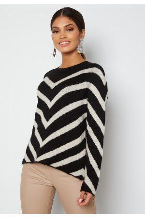 ONLY Dame Strikkegensere - Leliza L/S Pullover Knit Black Pattern Cloud S