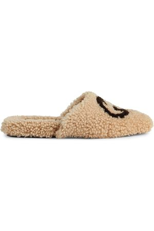 Gucci Dame Loafers - Interlocking G shearling flat slippers