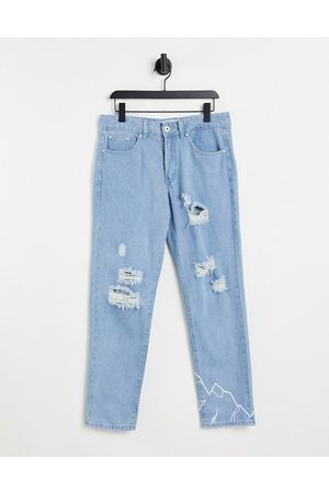 Liquor N Poker Herre Straight - Co-ord straight leg jeans in stonewash with distressing and mountain print-Blue