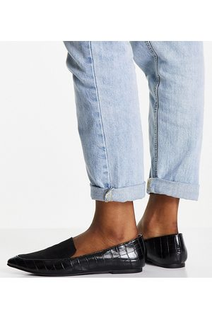 London Rebel Dame Loafers - Wide fit pointed flat loafers in black