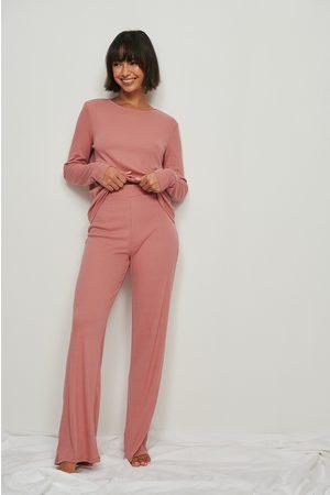 NA-KD Dame Pyjamaser - Myke vide basic bukser med ribber