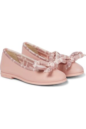 Fendi FF bow leather ballerinas