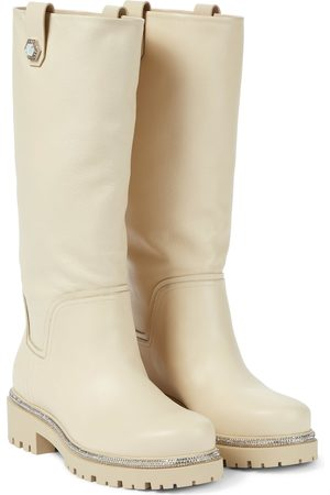RENÉ CAOVILLA Embellished leather knee-high boots