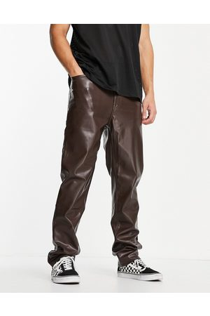 ASOS Herre Chinos - Dad fit trousers in brown leather look