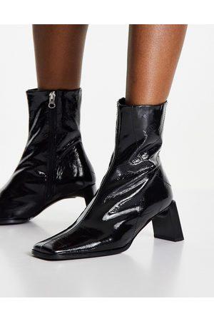 ASOS Dame Skoletter - Rosa premium leather heeled ankle boots in black