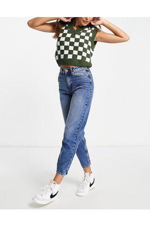 Miss Selfridge Dame High waist - Mom high waist tapered jeans in darkwash blue