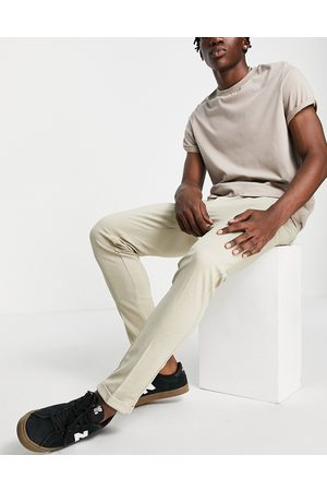 JACK & JONES Intelligence slim fit stretch trousers with pleats in with organic cotton-Neutral