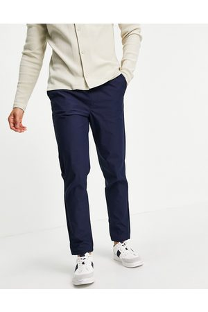 SELECTED Herre Chinos - Organic cotton blend trousers with elasticated cuff in navy