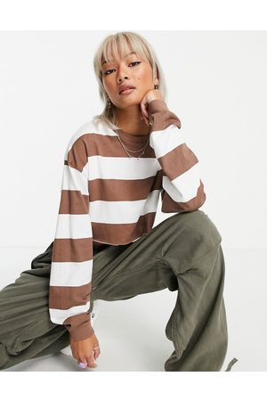 ASOS Super crop tee with long sleeve cuff detail and contrast stitch in stripe-Brown