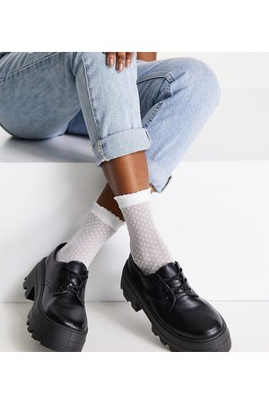 ASOS Dame Loafers - Wide Fit Midnight chunky lace up flat shoes in black