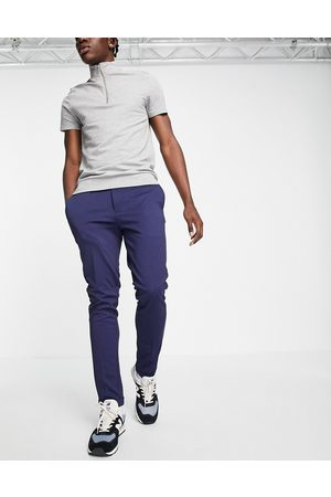 JACK & JONES Intelligence slim fit stretch trousers with pleats in navy with organic cotton