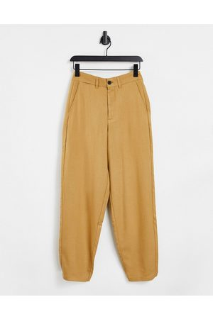 Bershka Herre Chinos - Wide fit smart trouser in mink-Brown