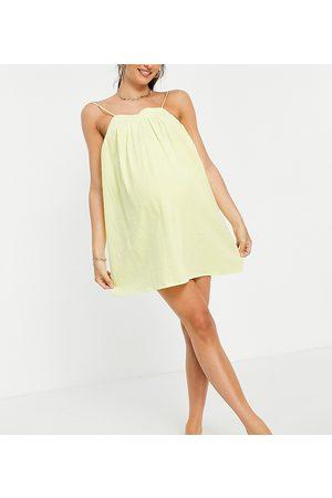ASOS Dame Strandkjoler - ASOS DESIGN maternity seersucker bow back mini beach dress in yellow
